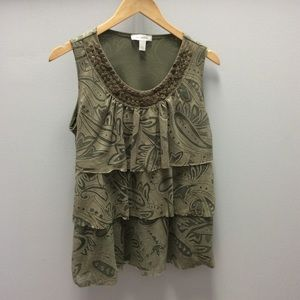 DressBarn green leaf print top with beading size L